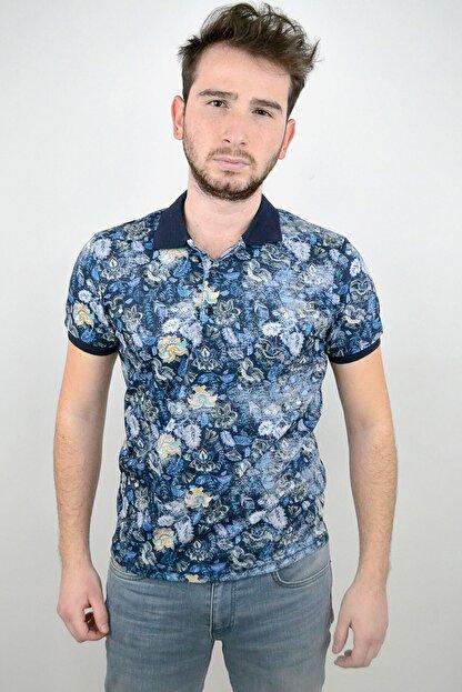 Mcr Polo Yaka T-shirt Lacivert Çiçekli Model