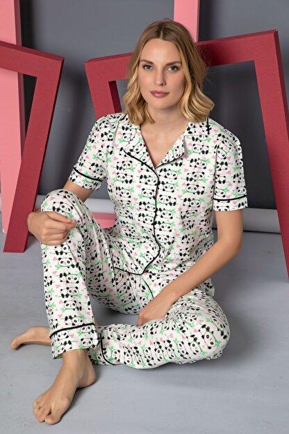 Siyah İnci Kısa Kollu Pamuklu Likralı Düğmeli Biyeli Pijama Takım