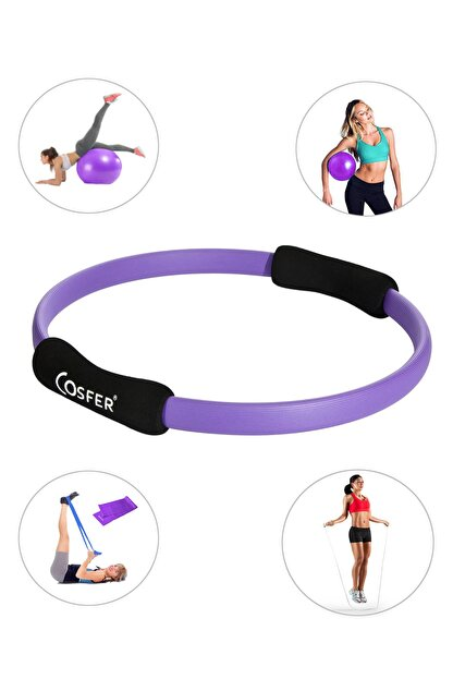 Cosfer Pilates Çemberi - Pilates Topu, Pilates Bandı, Atlama Ipi Ve Denge Topu - 5 Li Pilates Seti - Mor