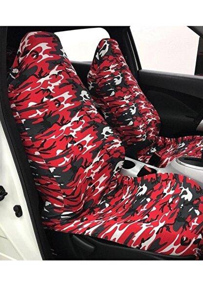 AutoFresh Opel Corsa C 2004 Uyumlu Kamuflaj Kılıfı Koruyucu Spor Kırmızı Desenli Yıkanabilir Ful Ön Arka Set