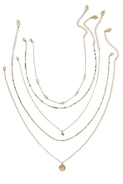 Stradivarius Kadın Sarı 5'Li Madalyon Kolye Seti 00282004