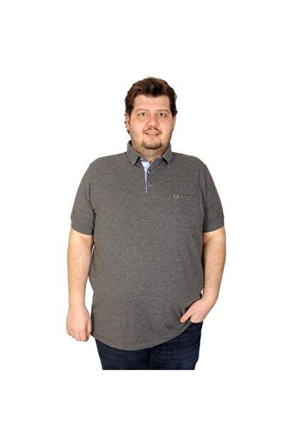 ModeXL Battal Beden Erkek Tshirt Polo Yaka Cepli Klasik Pike 20552 Antramelanj