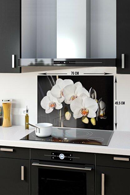 Decorita Orkideli Mutfak | Ocak Arkası Koruyucu | 49.5cm x 76cm