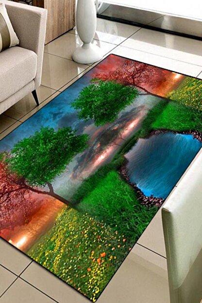 Else Halı 80X150 Else Hali Renkli Manzara 3D Modern Dekoratif 3D Salon Halilari