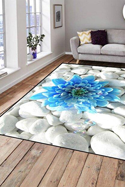 Else Halı 133X180 Else Hali Mavi Çiçekli Modern Dekoratif 3D Salon Halilari