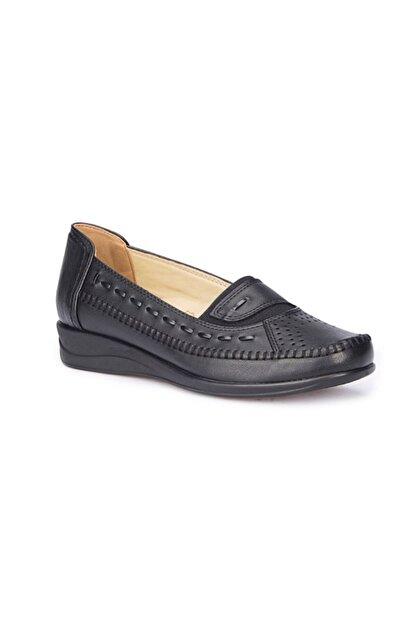 Polaris Siyah Renk 5 Nokta Ortopedik Taban Kadın Loafer Babet Ayakkabı