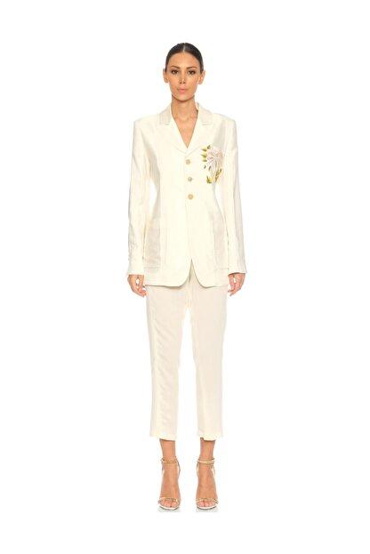 ANN DEMEULEMEESTER İşleme Detaylı Beyaz Ceket