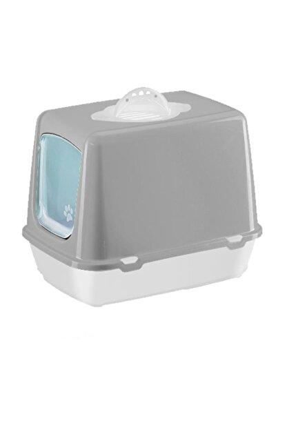 Sera Gri Kapalı Kedi Tuvaleti, Koku Filtresi, Kürek 50x40x36 cm