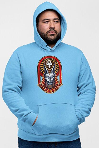 Angemiel Wear Firavun Kedisi Mavi Erkek Kapüşonlu Sweatshirt