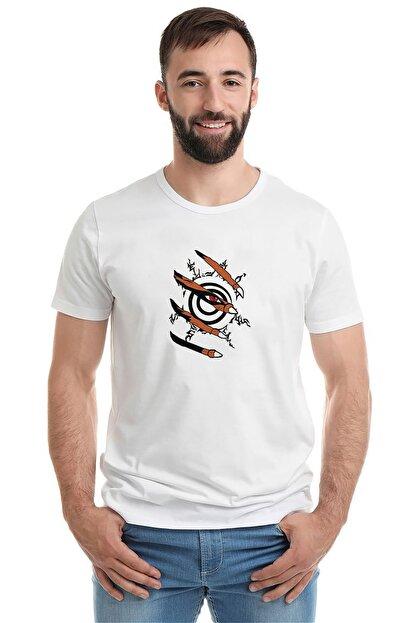 Collage Anime Naruto Baskılı Beyaz Erkek Örme Tshirt T-shirt Tişört T Shirt