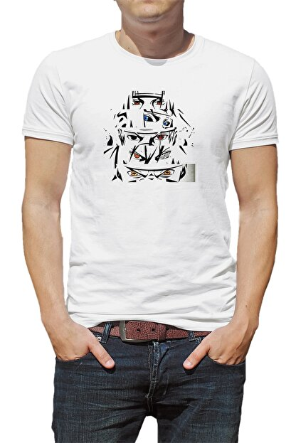 Collage Anime Naruto Baskılı Beyaz Erkek Örme Tshirt