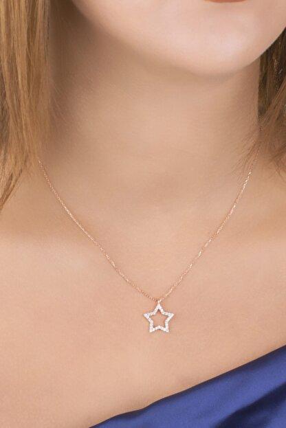 Diversity Jewelry Kadın Gümüş Zirkon Taşlı Rose Yıldız Kolye