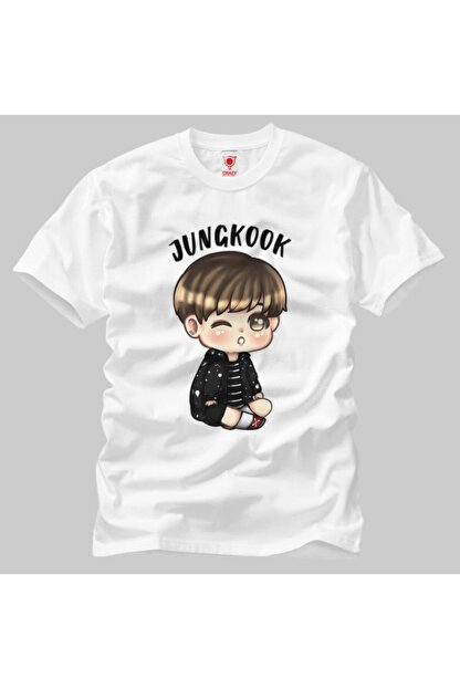 Crazy Bts Cartoon Jungkook Chibi Erkek Tişört