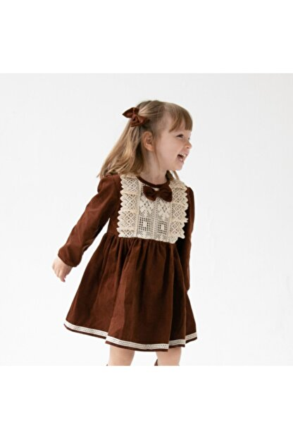 Catz Kids Kız Çocuk Kahverengi Kadife Güpürlü Elbise