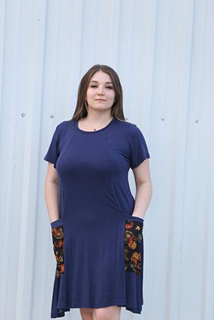 MGS LİFE Kadın, Renkli Cep Detaylı, Lacivert Renkli, Büyük Beden Yazlık Elbise