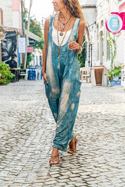 Güneşkızı Kadın Mavi Yanı Cepli Yıkama Baskılı Salaş Tulum GK-CCK988