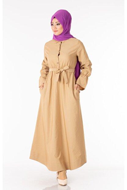 Tp Tesettür Pazarı Kadın Krem  Tesettür Elbise Kuşaklı Nkt61969-3