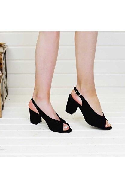 PABUÇ BUTİK Kadın Siyah Süet Topuklu Ayakkabı