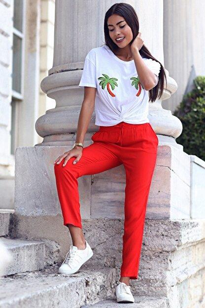Womenice Kadın Kırmızı Beli Bağcıklı Cepli Pantolon