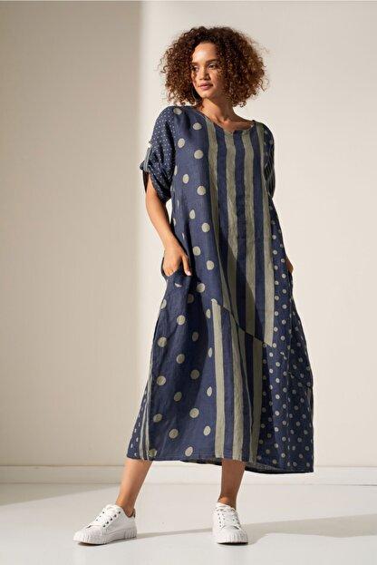 Camena Puantiye Çizgili Keten Elbise 2019070500189