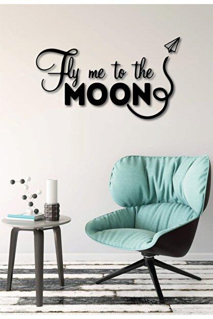 NCS Ahşap Sanat Atölyesi Fly Me To The Moon Duvar Yazısı Ahşap Tablo