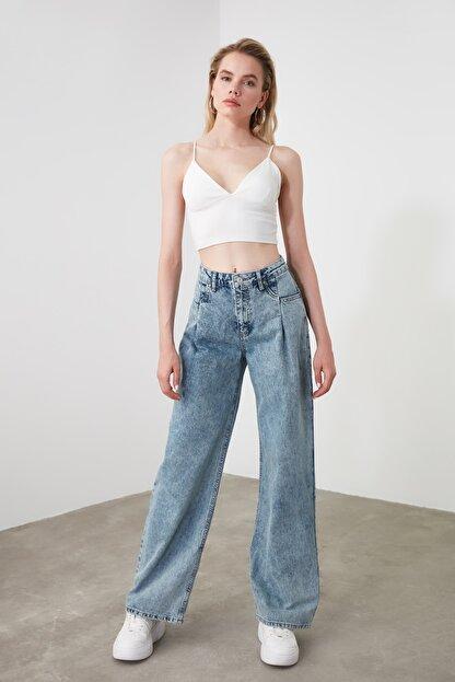TRENDYOLMİLLA Mavi Cep Detaylı Yüksek Bel Wide Leg Jeans TWOSS20JE0143