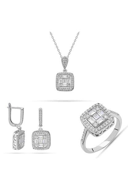 Batu Gümüş Baget Kare Taş Zirkon Taşlı 925 Ayar Kadın Gümüş Set