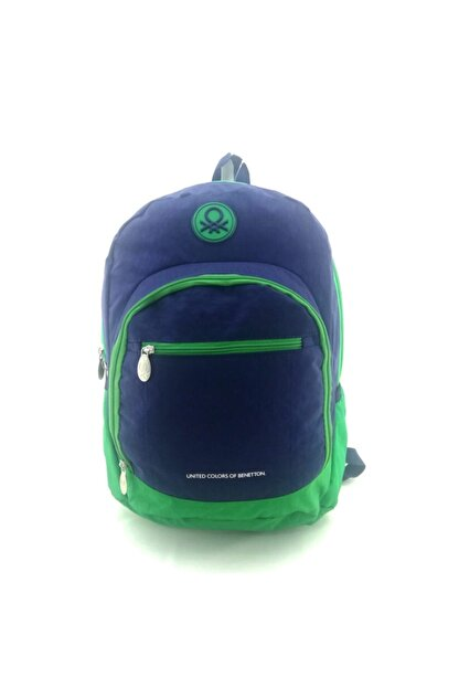 Benetton Unisex Lacivert Yeşil Okul Sırt Çantası 96015