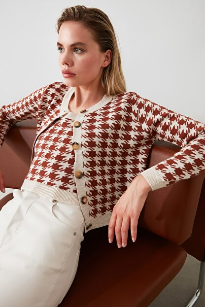 TRENDYOLMİLLA Kahverengi Kazayağı Hırka Bluz Triko Takım TWOAW21HI0163