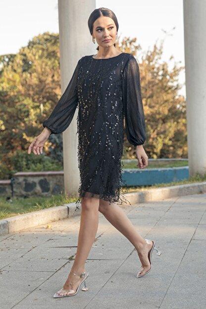 Gökmen Kotan Kadın Siyah Payet İşlemeli Abiye Elbise
