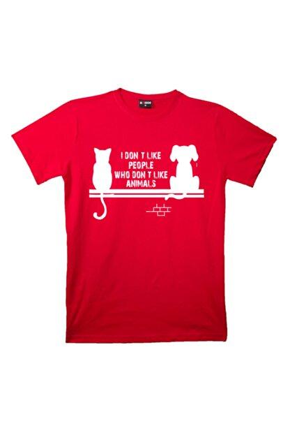 mAddog Unisex Kırmızı I Don't Like People Baskılı T-shirt