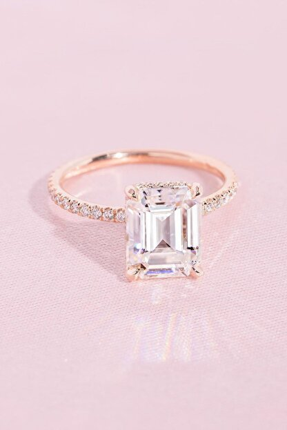 Crystal Diamond Zirconia Labaratuvar Pırlantası 3 Carat Baget Tektaş Yüzük