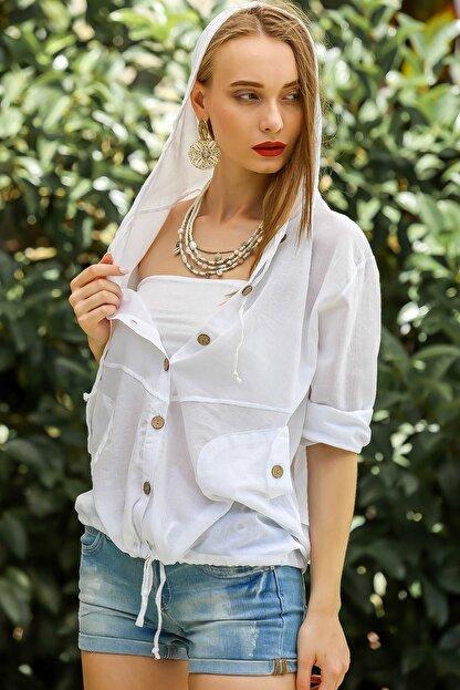 Chiccy Kadın Beyaz Casual Kapüşonlu Düğmeli Beli Ip Detaylı Büzgülü Yıkmalı Ceket M10210100Ce99339