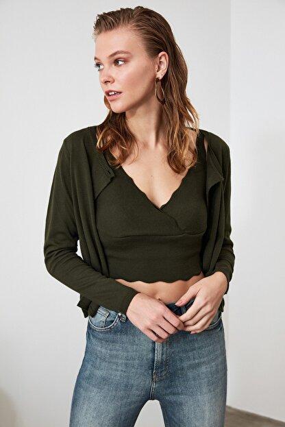 TRENDYOLMİLLA Zümrüt Yeşili Bluz Hırka Triko Takım  TWOAW21HI0111