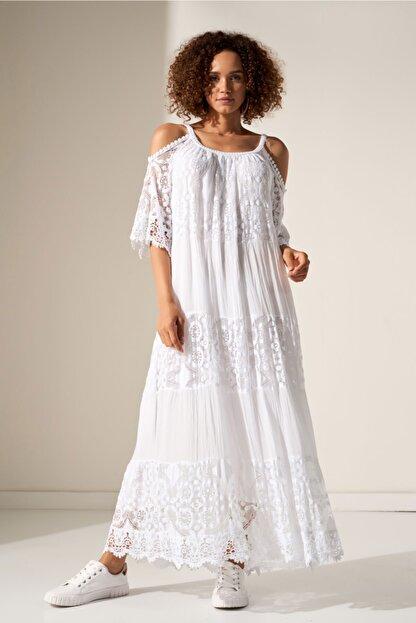 Camena Omzu Açık Dantelli Elbise 2019070500201