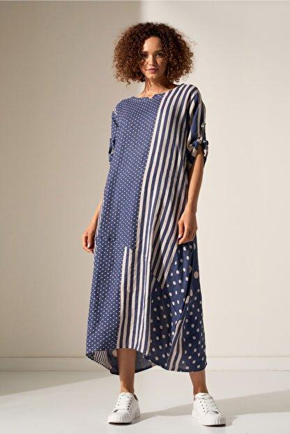 Camena Puantiye Çizgili Keten Elbise 2019070500188