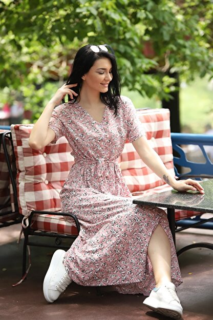 TEORA FASHION Çıtır Desen Düğme Detay Kuşaklı Viskon Elbise