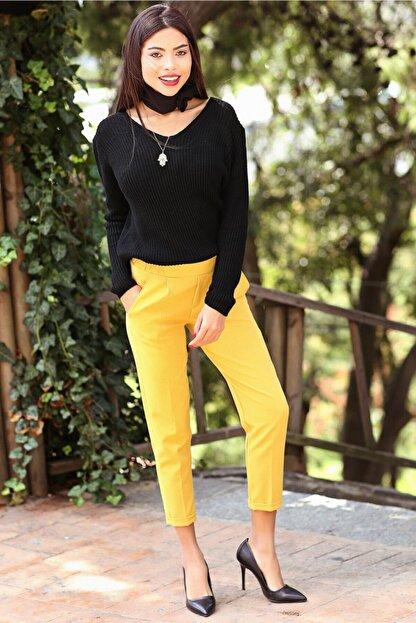 Womenice Kadın Sarı Beli Lastikli Duble Paça Pantolon