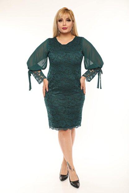 VOLİNAY TEKSTİL Kadın Yeşil Büyük Beden Güpür Kolu Şifon Abiye Elbise