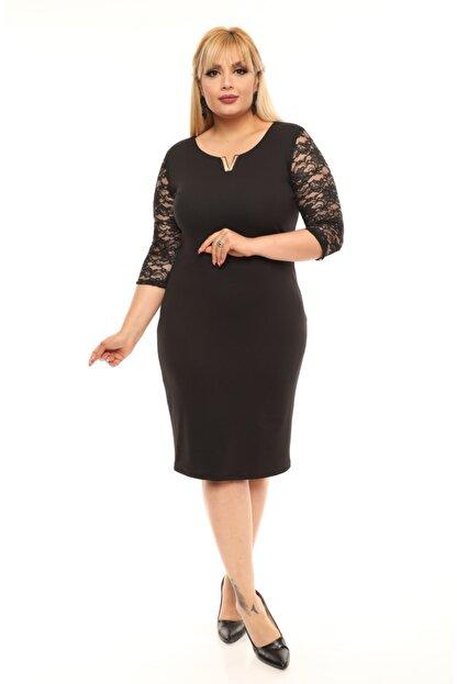 FİDAN TEKSTİL Kadın Siyah Büyük Beden V Broş Detay Abiye Elbise