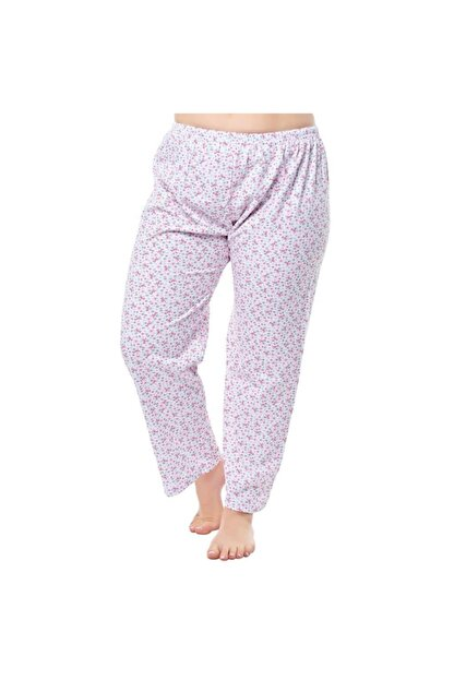 Seher Yıldız Kadın Beyaz Desenli Uzun Pijama Altı