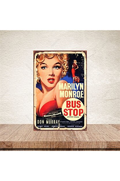 TAKIFİX Marilyn Monroe Bus Stop Retro Ahşap Poster 20-30 cm