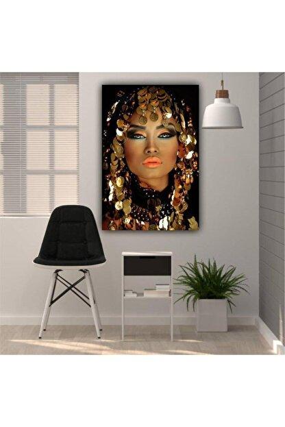 Simli Kanvas Altın Örtülü Kadın Kanvas Tablo 50x70 cm  Ayk-022