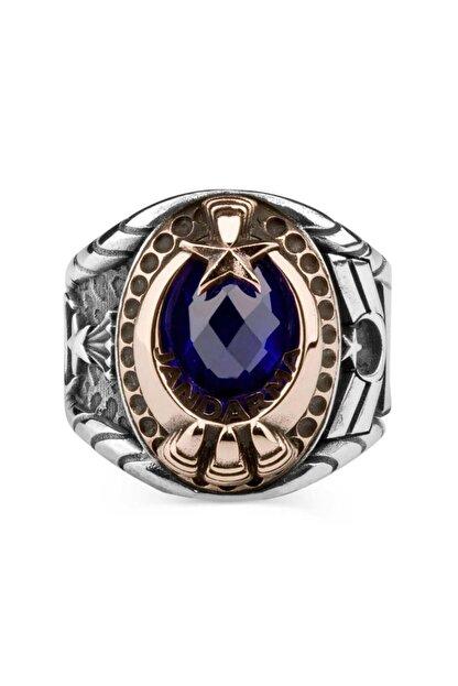 Anı Yüzük Mavi Taşlı Pençeli Jandarma Uzman Çavuş Yüzüğü