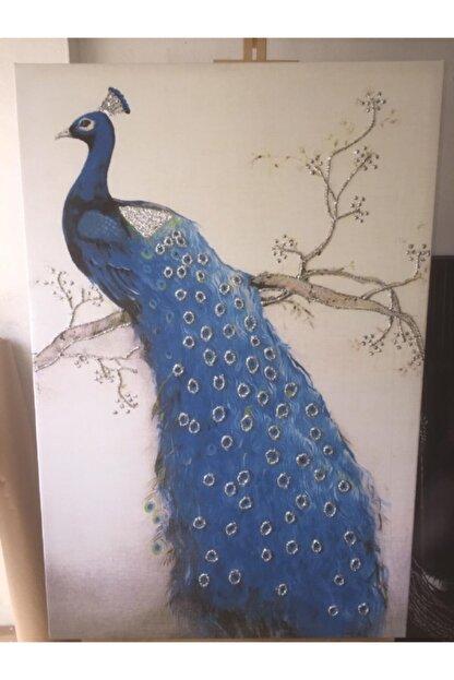 Simli Kanvas Sml015- Gümüş Sim Işlemeli Mavi Tavus Kuşu Kanvas Tablo 50x70cm