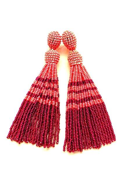 queen accessories Kadın Pembe Mor Boncuklu Sallantılı Küpe
