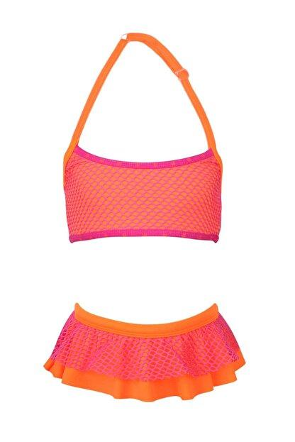 BellisaKids Kız Çoçuk Turuncu Desenli Free Set Bikini Takımı