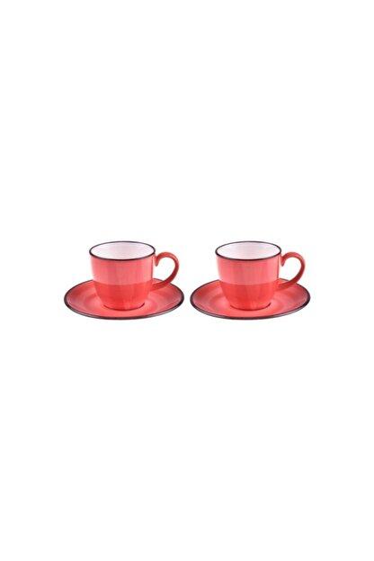 Taşev Bella 2 Kişilik Kahve Fincan Takımı Kırmızı