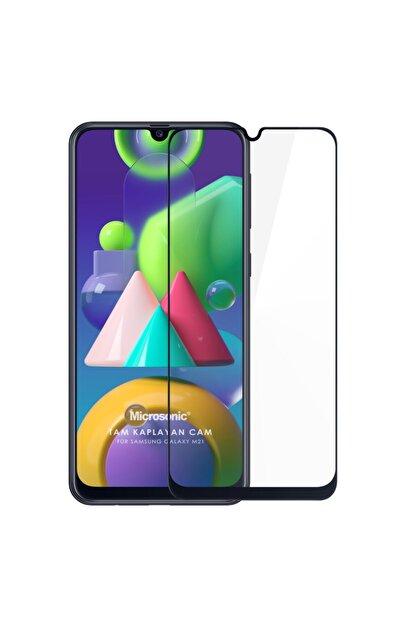 Microsonic Samsung Galaxy M21 Tam Kaplayan Temperli Cam Ekran Koruyucu Siyah