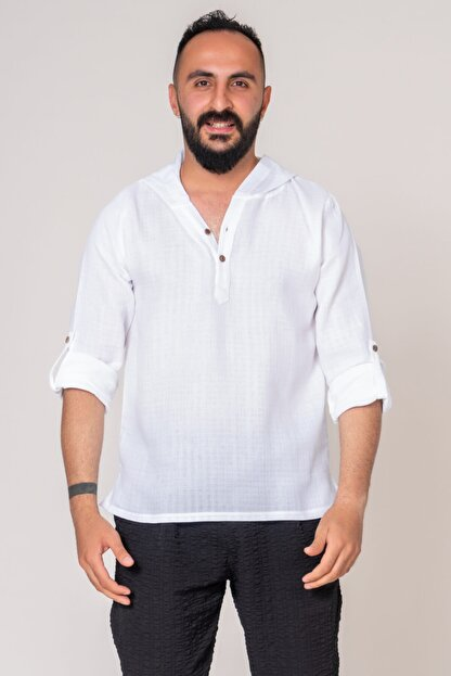 İpekçi Otantik Cotton Kapşonlu Erkek Gömlek